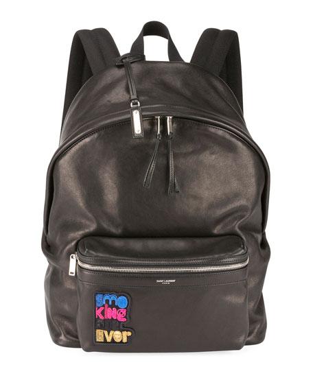 Saint Laurent Men's City Appliqué Leather Backpack