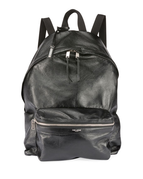 Saint Laurent Men's City Foldable Leather Backpack