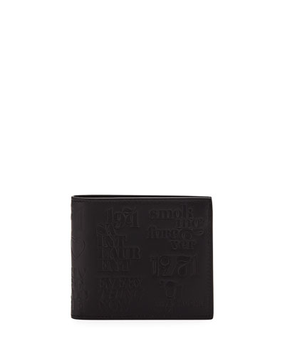 Men's YSL 1971 Embossed Leather Billfold Wallet