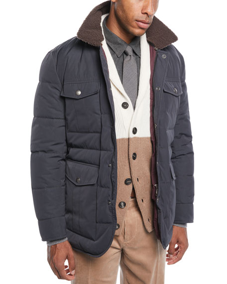 Men's Padded Technical Puffer Jacket with Shearling Trim
