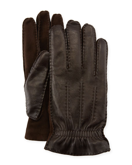 Men'S Three-Cord Lamb Leather Gloves, Dark Brown