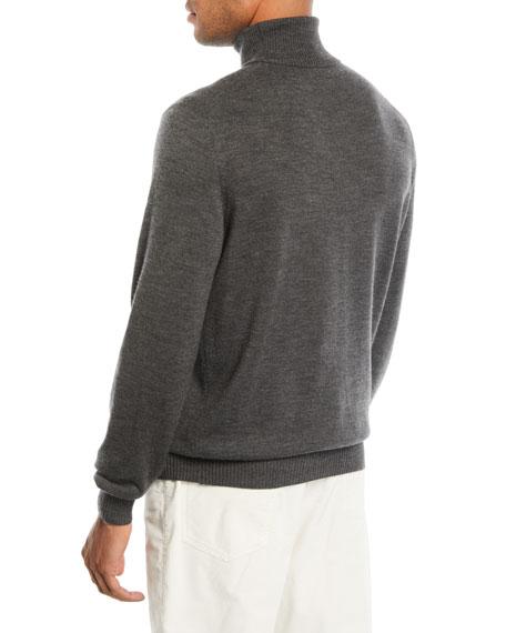 Brunello Cucinelli Mens Wool Cashmere Chunky Turtleneck Sweater
