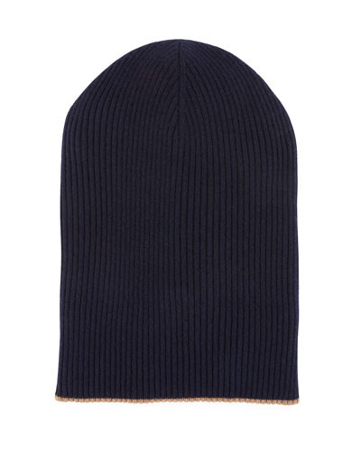 Men's Cashmere Reversible Ribbed Beanie Hat
