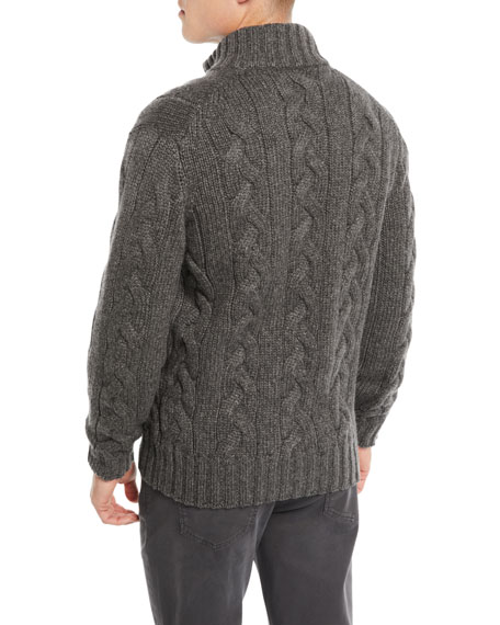 Men's Cable-Knit Full-Zip Cardigan Sweater
