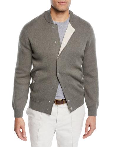 Men's Reversible Baseball Bomber Sweater