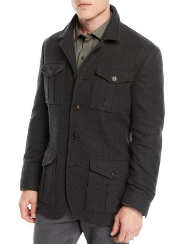 Men's Wool/Cashmere Safari Jacket