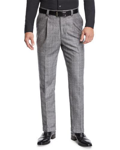 Men's Leisure Fit Single-Pleat Check Pants
