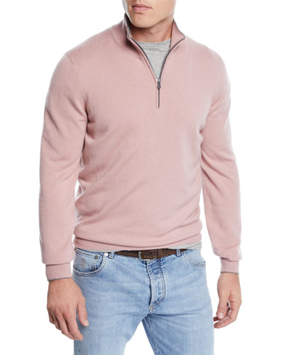 Men's Cashmere Quarter-Zip Pullover Sweater