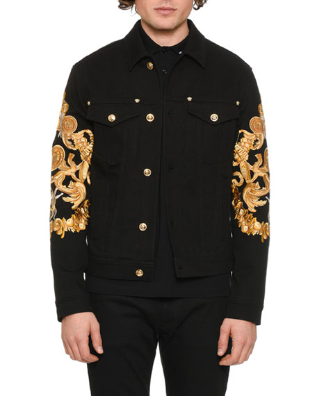 superior performance premium selection purchase authentic Men's Baroque-Print Denim Jacket