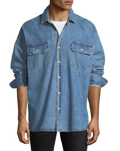 Men's Oversized Denim Sport Shirt