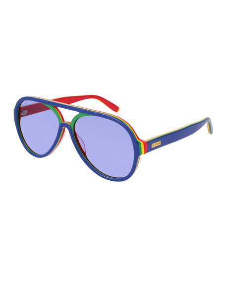953f401d82 Gucci Men s Rainbow Shield Acetate Sunglasses
