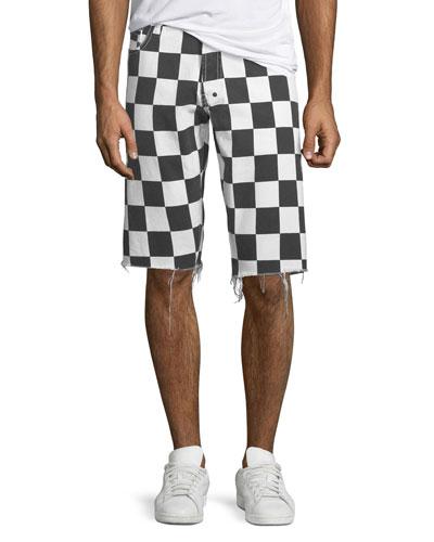 Men's Checkered Denim Shorts