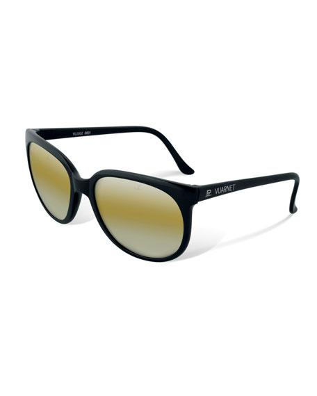 VUARNET Men'S Legend 02 Round Nylon Sunglasses in Black/Yellow