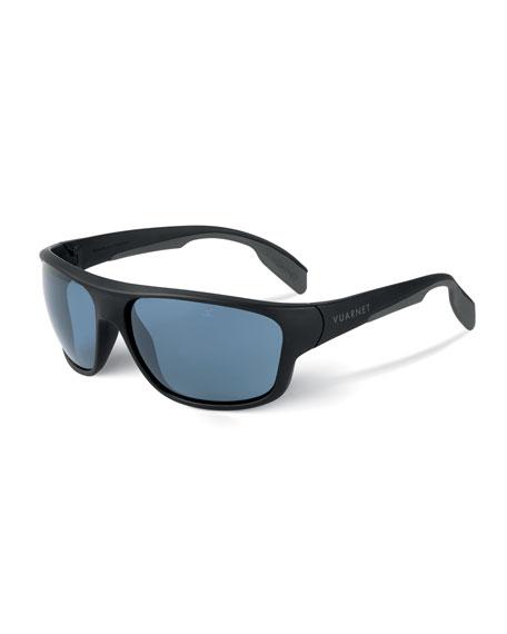VUARNET Men'S Active Racing Large Nylon Wrap Sunglasses in Blue/Black