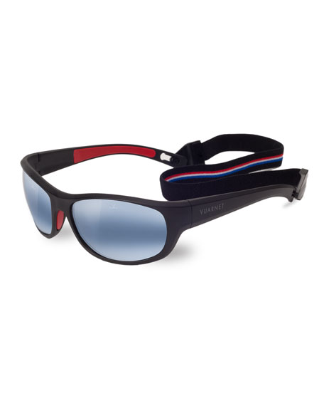 Men'S Active Cup Wrap Nylon Sunglasses With Removable Strap in Matt Black / Red