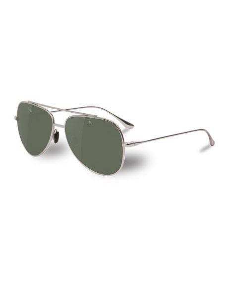 Vuarnet Men's Swing Large Titanium Pilot/Aviator Sunglasses