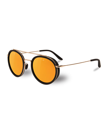 VUARNET Men'S Edge Round Stainless Steel/Acetate Sunglasses in Pure Brown Gold Flash