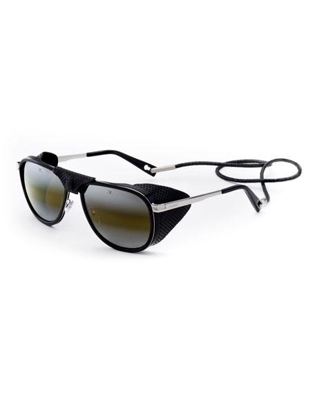 VUARNET Glacier Xl 61Mm Polarized Sunglasses - Black/ Silver/ Black