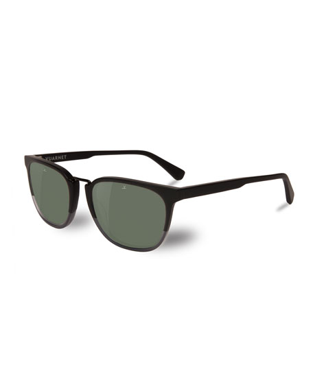 Men'S Cable Car Square Polarized Stainless Steel/Acetate Sunglasses in Matt Black / Grey Polar