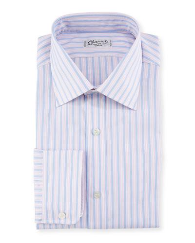 Men's Tricolor Stripe Dress Shirt
