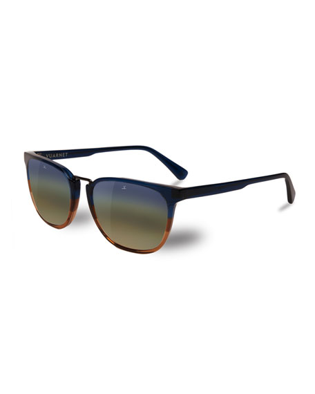 Men'S Cable Car Square Flash Stainless Steel/Acetate Sunglasses in Gradient Blue / Gradient Brown