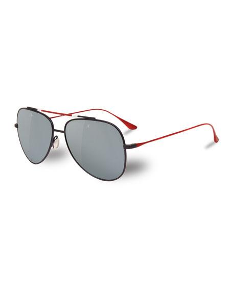 VUARNET Men'S Titanium Aviator Sunglasses in Brown