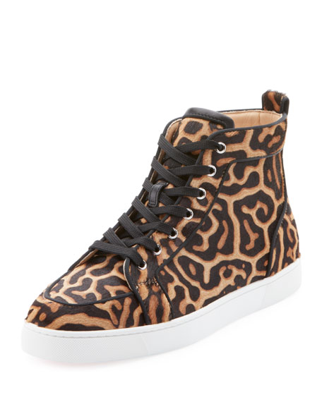 65f603f6fdb0 Christian Louboutin Men's Rantus High-Top Leopard-Print Pony Hair Sneakers