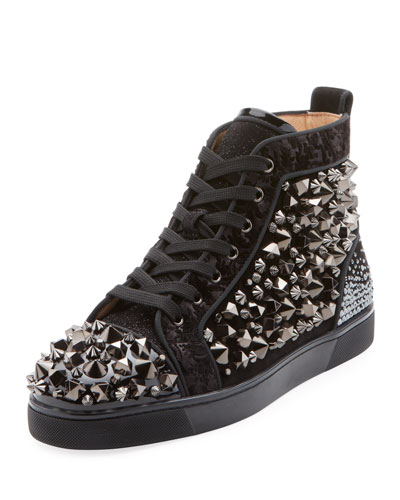 Men's Louis Mix Mid-Top Spiked Leather Sneakers