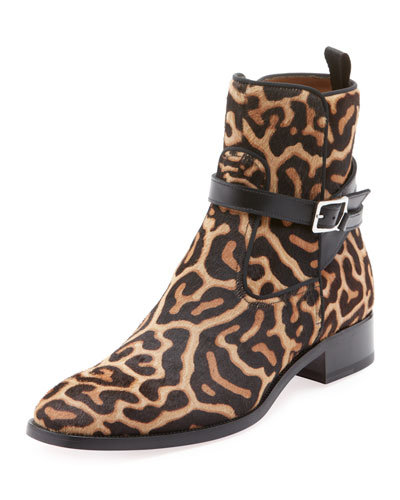 Men's Kicko High-Top Leopard-Print Pony Hair Boots