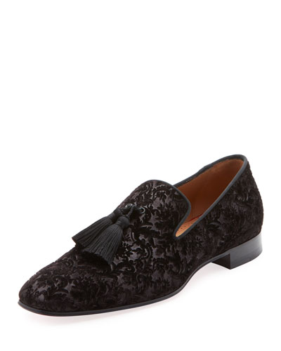 Men's Damask Velvet Tassel Loafer