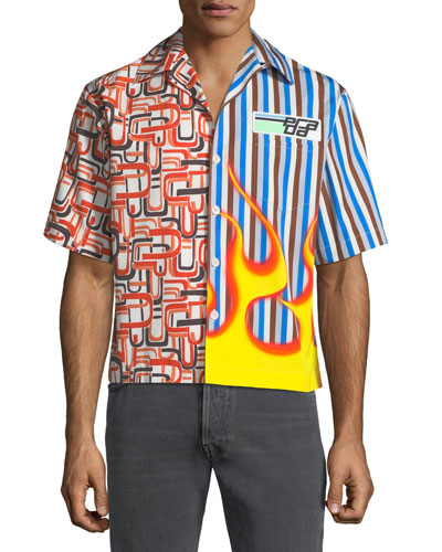 Men's Two-Print Short-Sleeve Sport Shirt