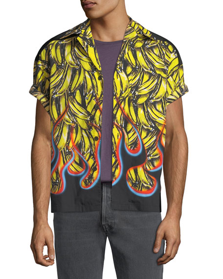 Men's Flame-Print Short-Sleeve Shirt