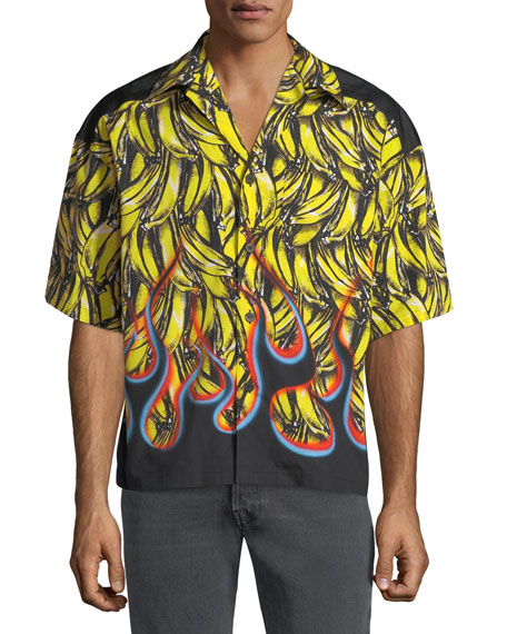 fb580dc47bb4 Prada Men s Flame-Print Short-Sleeve Shirt