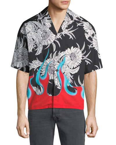 Men's Flame Floral Pattern Short-Sleeve Shirt