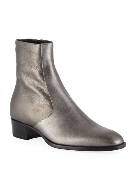 Men's Wyatt 40 Buffalo Leather Zip Up Ankle Boot by Saint Laurent