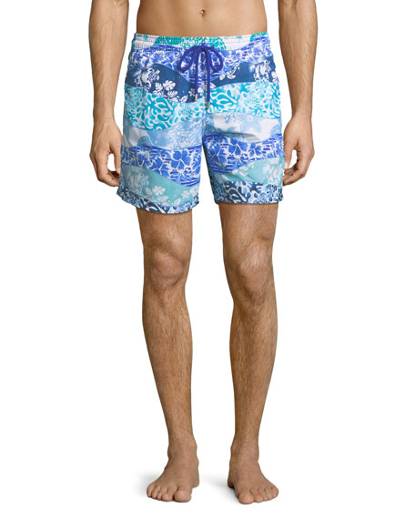 Moorea Mixed-Print Swim Trunks - Navy Size L