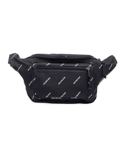 Men's Logo-Print Nylon Belt Bag