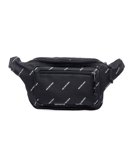 Balenciaga Men's Logo-Print Nylon Belt Bag