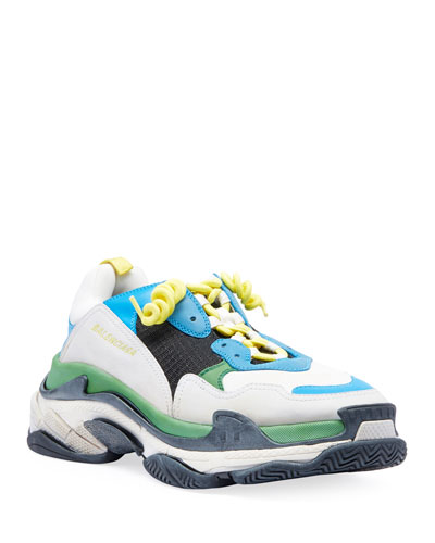 Men's Triple S Mesh & Leather Sneakers, Blue