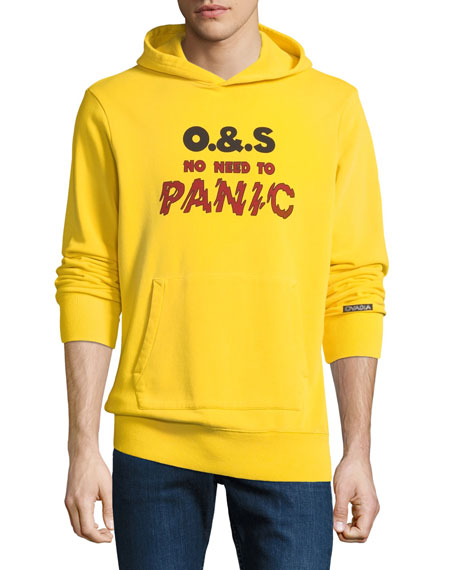 """OVADIA & SONS """"No Need To Panic"""" Cotton Hoodie - Yellow Size Xl"""