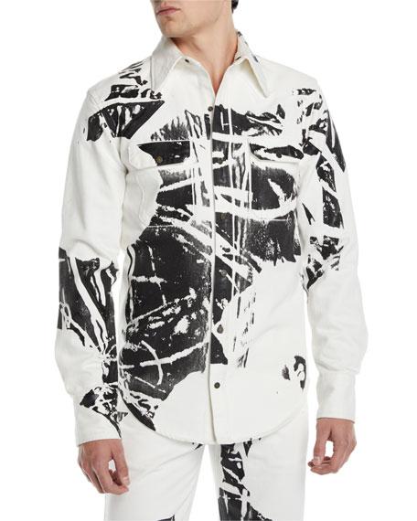 CALVIN KLEIN 205W39NYC Men's Graphic Denim Sport Shirt