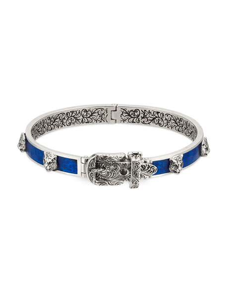 Gucci Men's Enamel & Feline Head Bracelet