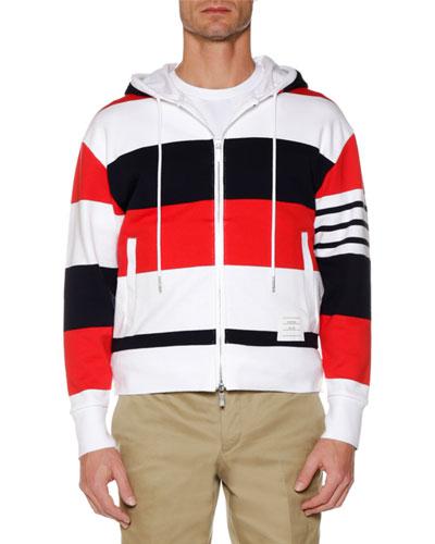 Men's Drop-Shoulder Striped Zip-Up Hoodie