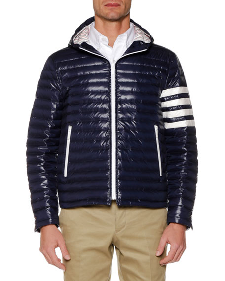 Men's Four-Bar Stripe Down Fill Quilted Hooded Jacket