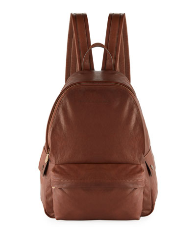 Men's Leather Backpack, Brown