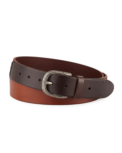 Men's Two-Tone Leather Belt