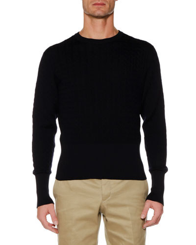 Baby Cable Merino/Cotton Crewneck Pullover Sweater
