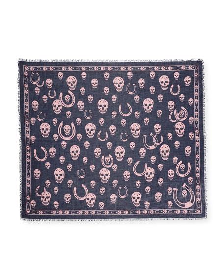Men's Horseshoe & Skull-Print Scarf