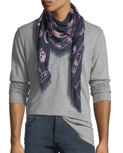 Men's Horseshoe & Skull-Print Scarf
