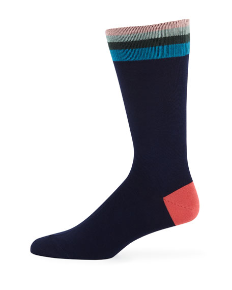 Men's Artist Striped-Trim Cotton-Blend Socks
